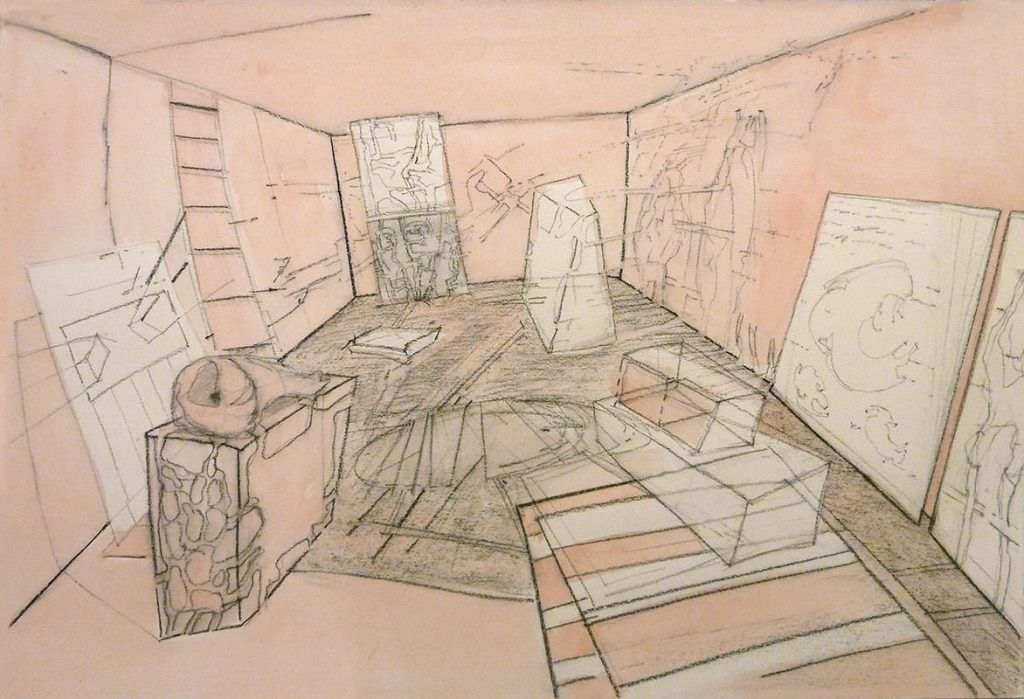 Interieur, Zeichnung, Drawing