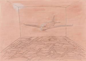 interieur, pencil on paper,maps, cartography