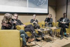 Panel discussion with Brett Littman, Elsy Lahner, Judith Saupper, Lionel Favre, 2018, Austrian Cultural Forum New York, The projective drawing, Robin Evans, Drawing, Fast Architektur